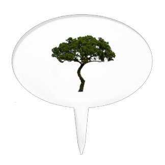 Green tree informal upright photograph cake topper