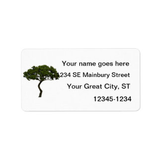 Green tree informal upright photograph label