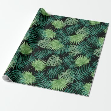 Beach Themed Green Tree Leaves Plants Pattern Wrapping Paper