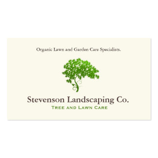 Green Tree Logo  Lawn Care Landscape Designer Double-Sided Standard Business Cards (Pack Of 100)