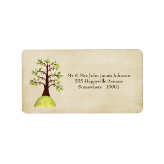 Green Tree Monogram Wedding Return Address Labels