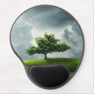 Green tree nature scenery illustration gel mouse pad