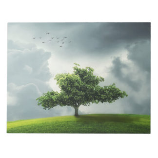 Green tree nature scenery illustration notepad