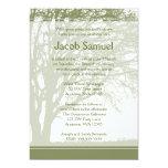 "Green Tree of Life Bar Mitzvah Invitations 5"" X 7"" Invitation Card"