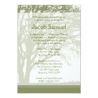 Green Tree of Life Bar Mitzvah Invitations