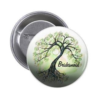 Green Tree of Life Bridesmaid Button