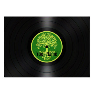 Green Tree of Life Personalized Vinyl Record Large Business Card