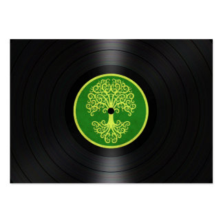 Green Tree of Life Vinyl Record Graphic Large Business Card