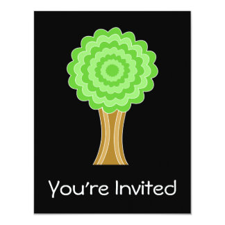 "Green Tree. On black background. 4.25"" X 5.5"" Invitation Card"