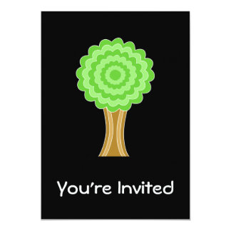 "Green Tree. On black background. 5"" X 7"" Invitation Card"