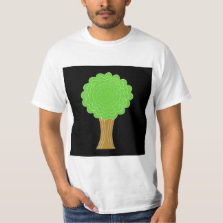 Green Tree. On black background. T-shirt