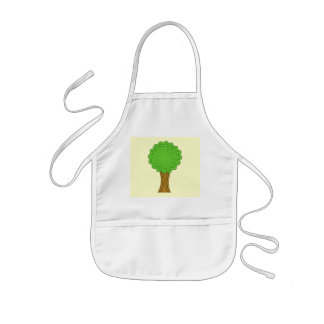 Green Tree. On cream background. Kids' Apron