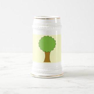 Green Tree. On cream background. Beer Stein