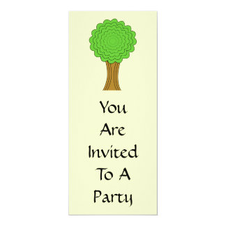 "Green Tree. On cream background. 4"" X 9.25"" Invitation Card"