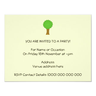 "Green Tree. On cream background. 4.25"" X 5.5"" Invitation Card"