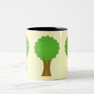 Green Tree. On cream background. Two-Tone Coffee Mug