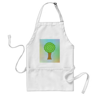 Green Tree. On multicolored background. Aprons