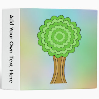 Green Tree. On multicolored background. 3 Ring Binders