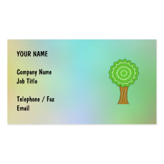 Green Tree. On multicolored background. Business Card Templates