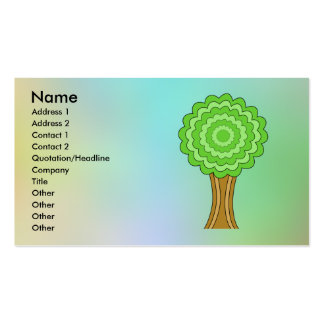 Green Tree. On multicolored background. Business Cards