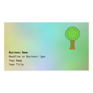 Green Tree. On multicolored background. Business Card Template