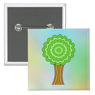 Green Tree. On multicolored background. Button