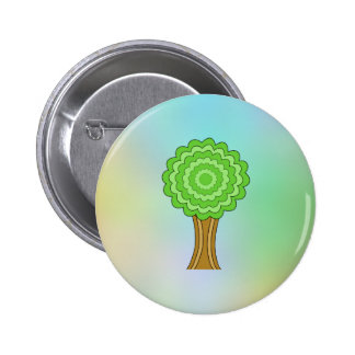 Green Tree. On multicolored background. Buttons