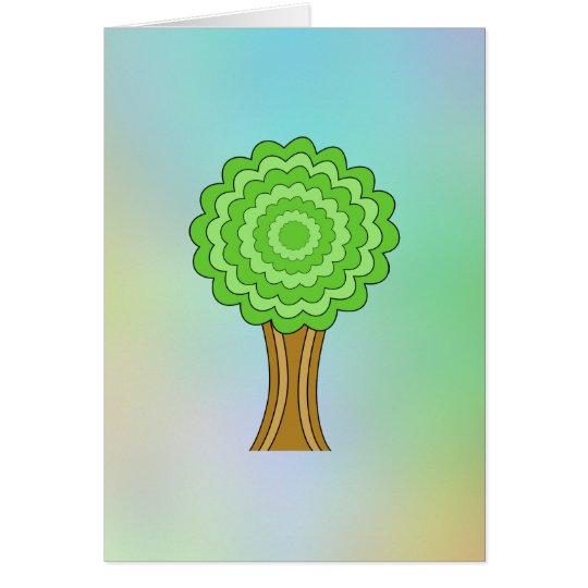 Green Tree. On multicolored background. Card