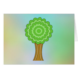 Green Tree. On multicolored background. Greeting Cards