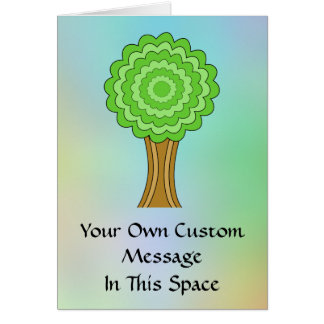 Green Tree. On multicolored background. Cards