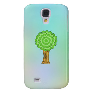 Green Tree. On multicolored background. Samsung Galaxy S4 Case