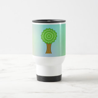 Green Tree. On multicolored background. Coffee Mug