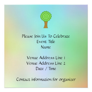 Green Tree. On multicolored background. Personalized Invite