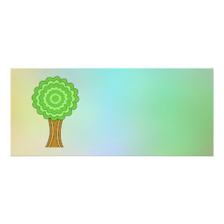 Green Tree. On multicolored background. Personalized Invitation