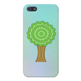 Green Tree. On multicolored background. Covers For iPhone 5