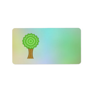 Green Tree. On multicolored background. Personalized Address Label