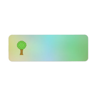 Green Tree. On multicolored background. Custom Return Address Labels