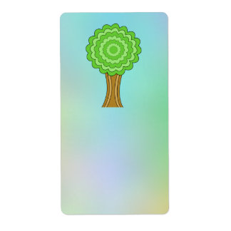 Green Tree. On multicolored background. Custom Shipping Label