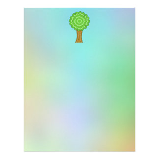 Green Tree. On multicolored background. Letterhead