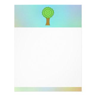 Green Tree. On multicolored background. Letterhead