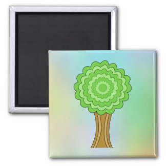 Green Tree. On multicolored background. Refrigerator Magnet