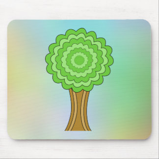 Green Tree. On multicolored background. Mousepads