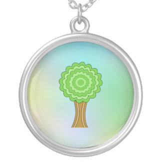 Green Tree. On multicolored background. Personalized Necklace