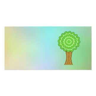 Green Tree. On multicolored background. Photo Card Template