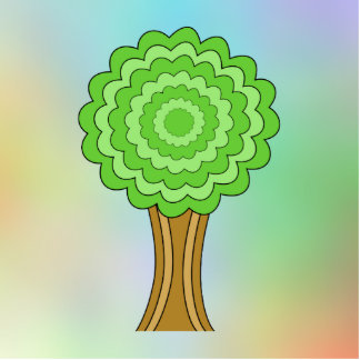 Green Tree. On multicolored background. Photo Cutout