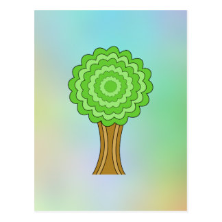 Green Tree. On multicolored background. Postcards