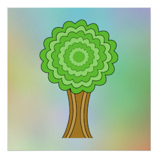 Green Tree. On multicolored background. Poster