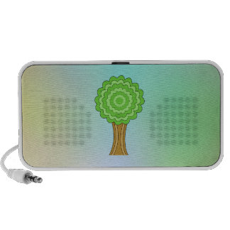 Green Tree. On multicolored background. iPhone Speakers