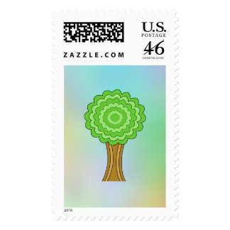 Green Tree. On multicolored background. Stamps