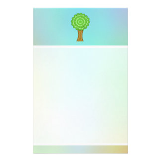 Green Tree. On multicolored background. Personalized Stationery